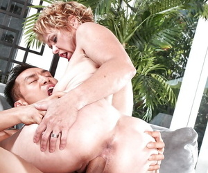 Kinky blonde granny gets say no to wet grab rammed winning of say no to side