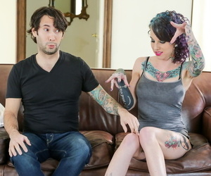 Heavily tattooed girl Romance goes pussy to mouth on leather couch