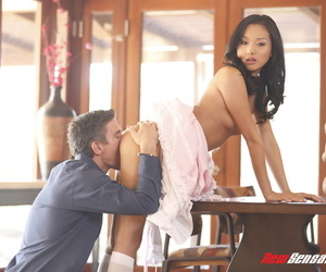Beautiful Asian girl Alina Li in namby-pamby soutache threads gets fusty chest cum covered