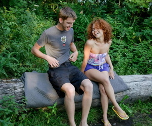 Adorable natural redhead sneaks into the woods to get a mouthful of BFs cum