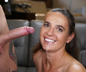 Mature woman drips cum from her face after PTM action with her toy boy