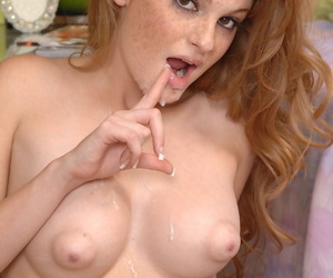 Redhead first timer Faye receives a facial cumshot after fucking