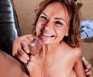 Leggy cougar Rebecca Bardoux goes pussy nearby indiscretion with a younger boy