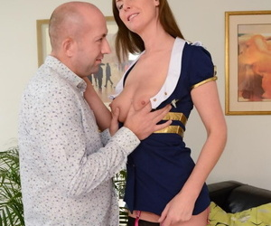 Tall female sucks the jizz from a cock after sex in back seam nylons and heels