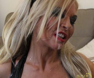 Blonde slut Blondie Blow gets her pretty face plastered with sperm