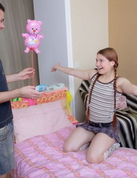 Young redhead gives up her virginity in cute socks for a plush toy