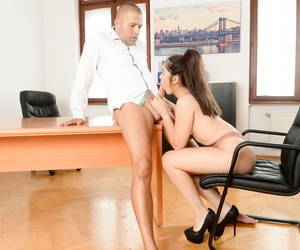 Brunette secretary Diana Rius sucks the cum from her employers penis