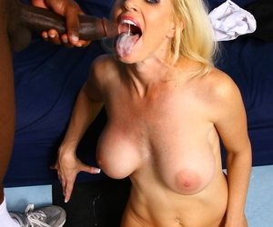 Blonde cougar Tabitha enjoys a big black cock before getting cum on her tongue