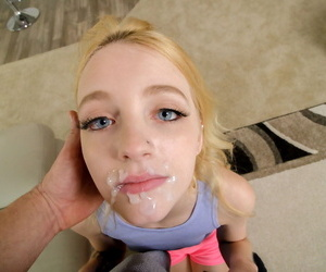Tiny blonde teen Kate Bloom wears cum on her face and pussy after POV action