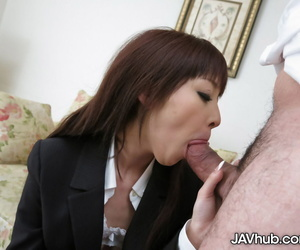 Japanese chick Miho Miyazawa leaks cum from her pussy after a spirited fuck