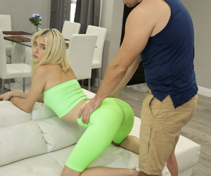 Blonde teen Jessie Saint seduces her stepbrother in spandex pants and tube top