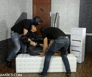 Masked men masturbate a fully clothed woman thru her underwear
