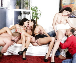 Sexy sluts in heels with big tits get double penetration in wild reality orgy