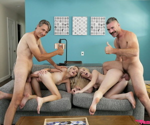 Young blonde girls Kate Bloom & Emma Starletto get fucked by each others dad