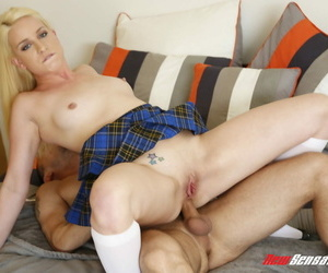 Blonde student Kristen Jordan removes cotton panties before anal sex on a bed