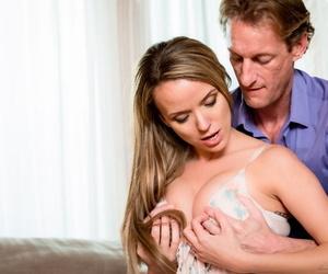 Sexy MILF Pristine Edge seduces her man in a lingerie ensemble