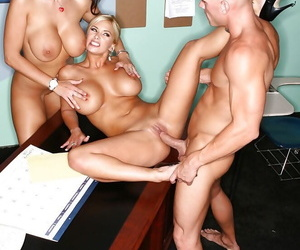 Top-heavy teachers have threesome fun with their well-hung student