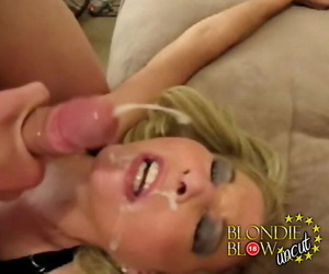 White female Blondie Blow opens her mouth wide be proper of facial cumshots