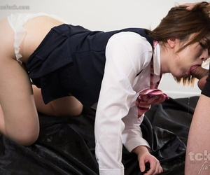 Japanese office worker gets face fucked and jizzed on in hopes of a promotion