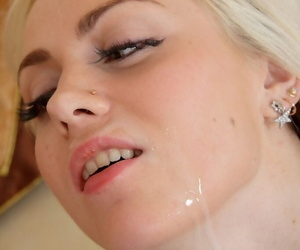 Young blonde girl gets cum on face after hardcore anal fucking