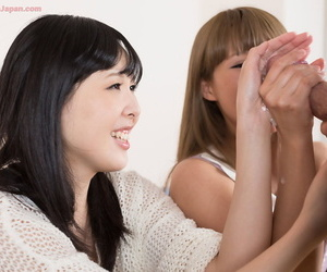 Japanese teenagers jerk off their stepfather with their clothes on