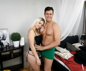 Blonde girl Gabi Gold offer her bare ass and vagina to male pornstar Porno Dan