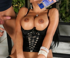 MILF in stockings Cory Everson gets her big tits oiled up and cunt fucked