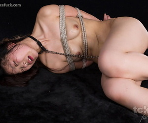 Tied be worthwhile for Japanese hottie is synthetic to drag inflate cock onwards being masturbated