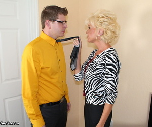Mature blonde with huge boobs deepthroats her stepsons cock