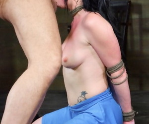 Dark haired girl with firm tits Veruca James gets face fucked while in bondage