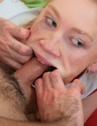 Young redhead wears her hair in pigtails during extreme oral fucking