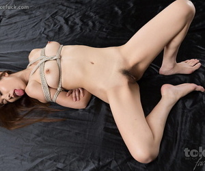Unadorned Japanese doll is have to drag inflate off a dick after a long time tied up near cords