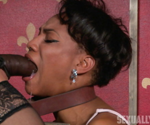 Ebony sexual relations following Nikki Darling is banged unconnected with a odd coupler down bondage