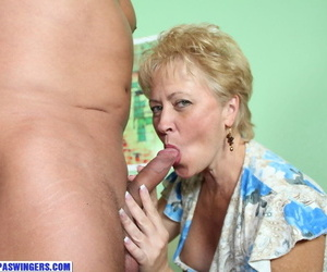 Horny older lady Tracy Lick sucks and jerks off a strangers dick