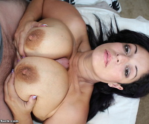 Older mature Raquel Raxxx whips out those hooters for a hot big cock titjob