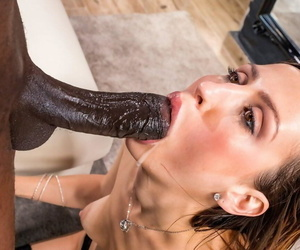 Skinny wife in stockings Jessica Night slides black boner in her butthole