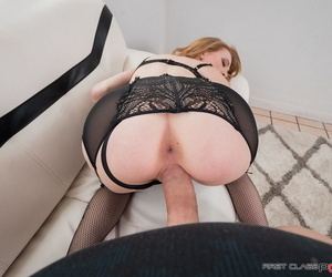 Tattooed redhead Nora Ivy sucks a dick after it was inside her ginger pussy