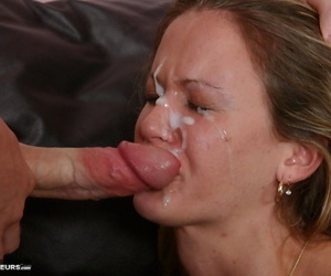 Blonde wife deepthroats her mans large cock while giving oral sex