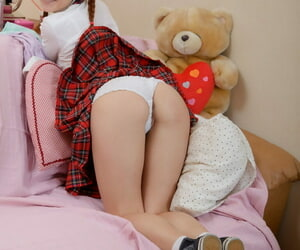 Charming schoolgirl removes cotton panties forwards toying their way smutty asshole