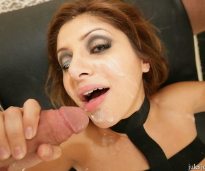 Latina MILF Sativa Rose takes a cumshot in the eye after a DP