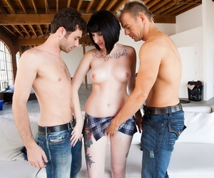 Dark haired girl Shay Ryan sucks off two cocks after being double fucked