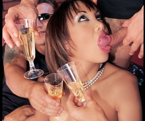 Hot Japanese girl Katsuni does double penetrations during birthday gangbang