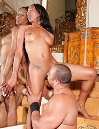 Beautiful ebony babe Stacey Cash gets cum on natural tits after bang & blowjob
