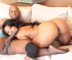 Hot ebony with natural big tits Megan Vaughn lifts booty for hot doggystyle