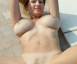Busty tow-headed Karol gets on say no back knees naked back beg be expeditious for unending cock by slay rub elbows with come together