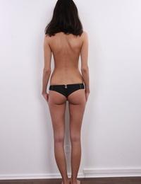 Slender amateur Renata poses in black bra and panties before getting nude