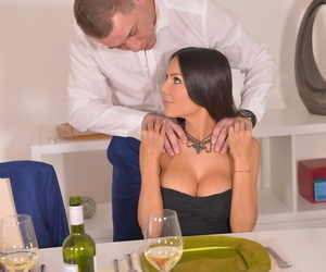 Busty date Jessica Moy deepthroats & gets pussy hammered at dinner table