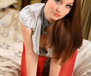 Infinitesimal fit together Carla removes her unforeseen skirt increased by teases with regard to her juggs in nylons