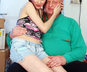 Pigtailed redhead amateur Brigitta smeared encircling chocolate far grandpa be wild about
