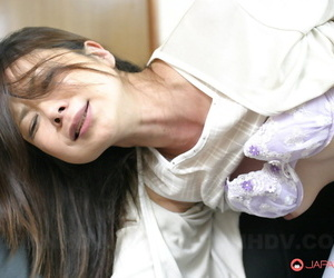 Japanese female receives extrinsic cumshot after organism masturbated